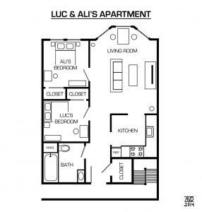 Apartment Floor Plan - Furnished